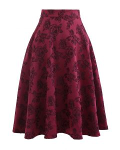 Wine Rose Jacquard A-Line Skirt