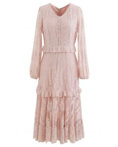Breezy Embroidered V-Neck Mesh Midi Dress in Dusty Pink