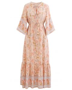 V-Neck Flare Sleeve Floral Frilling Dress in Coral