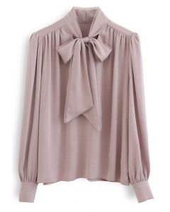 Lacy Edge Bowknot Textured Satin Top in Dusty Pink