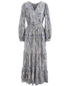 Paisley Floral Boho Wrap Frilling Dress in Dusty Blue