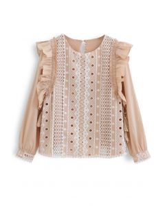 Embroidery Eyelet Ruffle Tassel Top in Tan