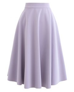 Sleek Faux Leather A-Line Midi Skirt in Purple