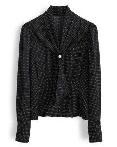Pearl Tie Knot Polka Dots Shirt in Black