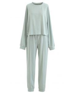 Raw-Cut Hem Sweatshirt and Seamed Pants Set in Mint