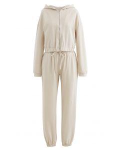Hooded Zipper Sweatshirt and Drawstring Joggers Set in Cream