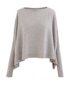 Soft Flare Hem Cape Sweater in Sand