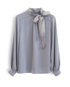 Satin Bowknot Neck Long Sleeves Top in Dusty Blue