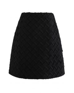 Crisscross Suede Bud Skirt in Black