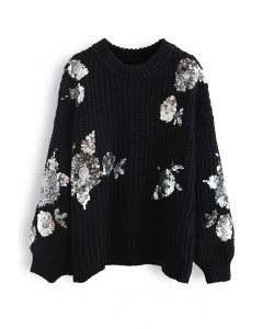 Sequin Floral Ribbed Chunky Knit Sweater in Black