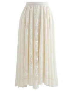 Divine Floral Lace Midi Skirt in Cream