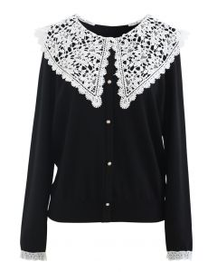 Crochet Collar Button Trim Knit Top in Black