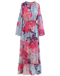 Tie Dye Bubble-Sleeve Chiffon Maxi Dress