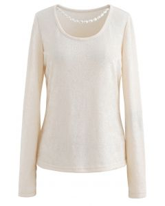 Necklace Fuzzy Long-Sleeve Top in Cream