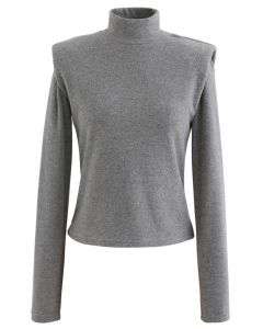 Padded Shoulder High Neck Fleece Top in Grey