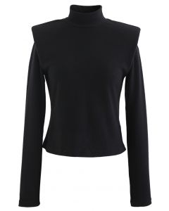 Padded Shoulder High Neck Fleece Top in Black