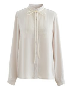 Ribbon Tie Mesh Neck Satin Shirt in Cream