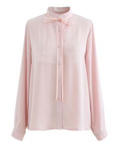 Ribbon Tie Mesh Neck Satin Shirt in Pink