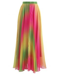Tie Dye Chiffon Maxi Skirt in Hot Pink