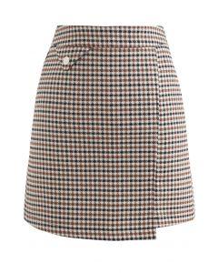 Fake Pocket Plaid Bud Skirt