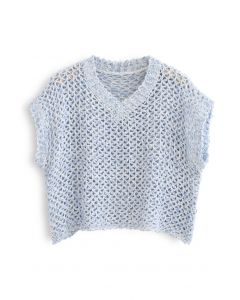 Zigzag Hollow Out V-Neck Sweater in Blue