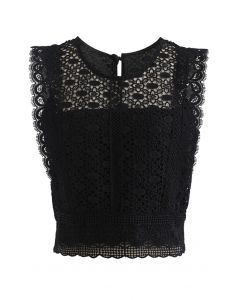 Crochet Lacey Sleeveless Crop Top in Black