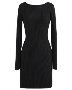 Twist Back Ribbed Bodycon Knit Dress in Black