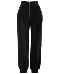 Zip Front Side Pocket Joggers in Black