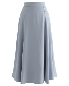 Glittering High-Waisted Flare Skirt in Dusty Blue