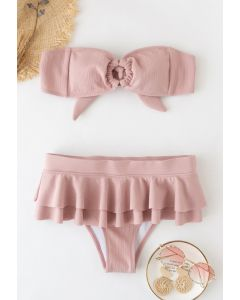 Knotted O-Ring Tiered Bikini Set