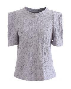 Embossed Folded Short Sleeve Top in Lavender