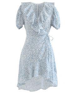 Ruffle Printed Asymmetric Wrap Dress