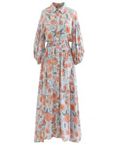 Blossom Moment Bubble Sleeves Button Down Maxi Dress in Light Blue