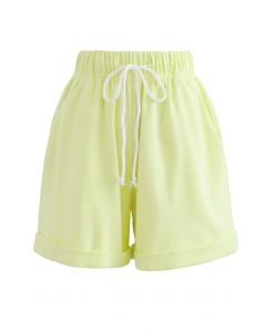 Folded Hem Drawstring Pockets Shorts in Lime