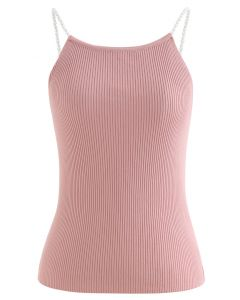 Pearl Straps Knit Cami Tank Top in Pink