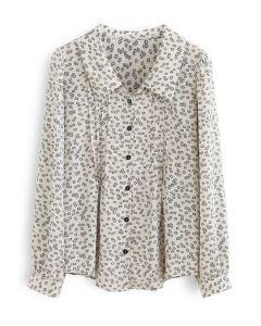 Modest Floral Print Chiffon Shirt