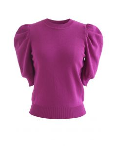 Bubble Short-Sleeve Knit Top in Magenta