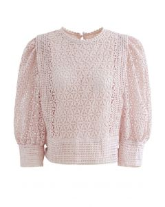 Full Floral Cutwork Crochet Top in Dusty Pink