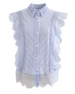 Wavy Lace Eyelet Embroidered Sleeveless Shirt in Blue