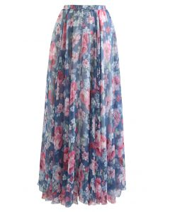 Romantic Moment Peony Print Maxi Skirt in Navy