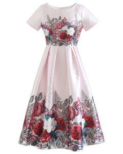 Flourishing Flower Short-Sleeve Pleated Dress