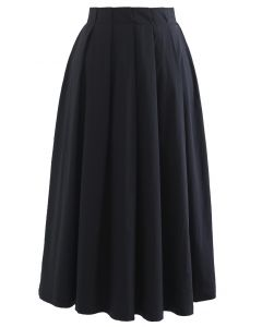 Cotton A-Line Pleated Midi Skirt in Black