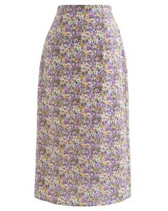 Ditsy Floral Chiffon Pencil Skirt in Purple