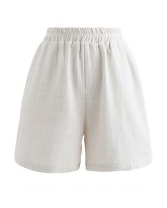 Elastic Waist Pockets Cotton Linen Shorts in Ivory