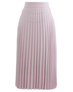 Draped Chain Pleated Midi Skirt in Pink