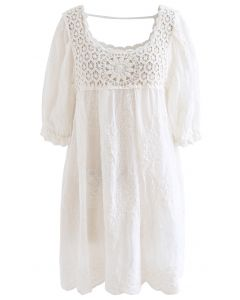 Scoop Neck Crochet Embroidered Dolly Tunic