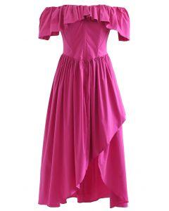 Ruffle Off-Shoulder Flap Asymmetric Dress in Magenta