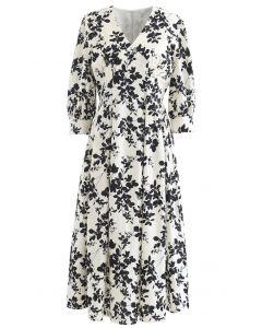 V-Neck Pleated Leaves Print Midi Dress in Ivory