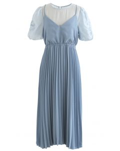 Fake Two-Piece Pleated Midi Dress in Blue