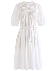 Diamond Honeycomb Dolly Dress in White